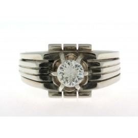 Anello D'epoca da uomo in oro bianco 18 kt anni 50 60 con diamante montatura a griffe (159)