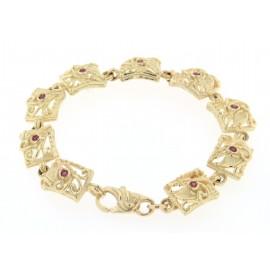 Bracciale in oro giallo  18 kt con rubini lavorazione artigianale a cera persa