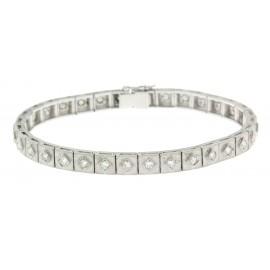Bracciale  d'epoca in oro bianco18 kt  e diamanti taglio huit huit anni 50 60