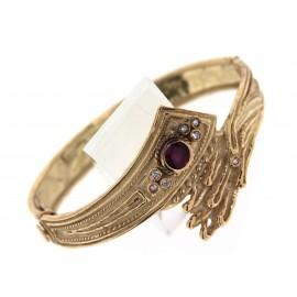 Bracciale in oro18 kt con lavorazione artigianale a cera persa, con diamanti e rubino