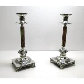 Candelieri ad un solo fuoco in argento 800 e onice