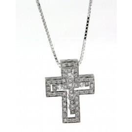 Girocollo Damiani in oro bianco e ciondolo a croce con 52 diamanti