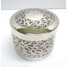 Contenitore in argento 900 cilindrica con coperchio lavorato a mano