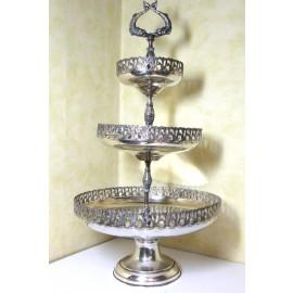 Fruttiera in argento 800 a tre piani d'epoca