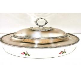 Porta vivande in argento 800 ceramica d'aquitaine france d'epoca