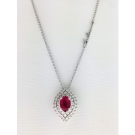 "Collier ""DHARMA"" di Salvini in oro bianco 18 Kt, con pendente in diamanti 0,19 ct e rubini 0,39 ct"
