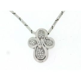Girocollo Chimento in oro bianco18 kt croce con pavè di diamanti, taglio brillante