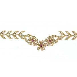 Girocollo in oro 18 kt lavorazione a cera persa artigianale con diamanti e rubini