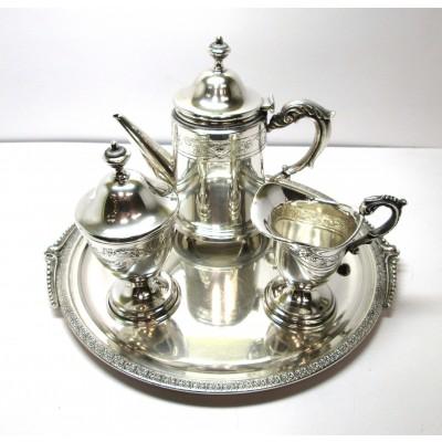 Quattro pezzi in argento caffettiera lattiera zuccheriera e vassoio d'epoca anni 30
