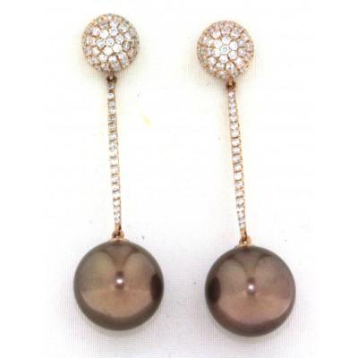Orecchini in oro rosa 18 kt, con perle gold e diamanti