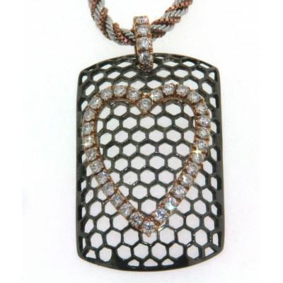 Girocollo in oro bianco, rosa e brunito con diamanti
