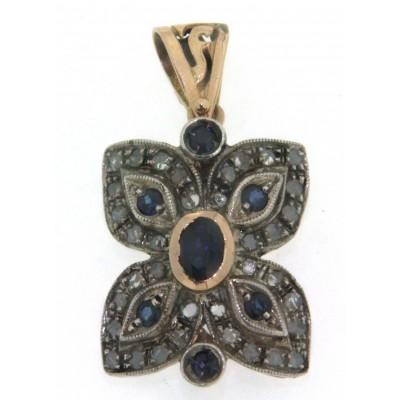 Ciondolo in oro rosa 14 kt e argento, in stile antico, con zaffiri blu e diamanti
