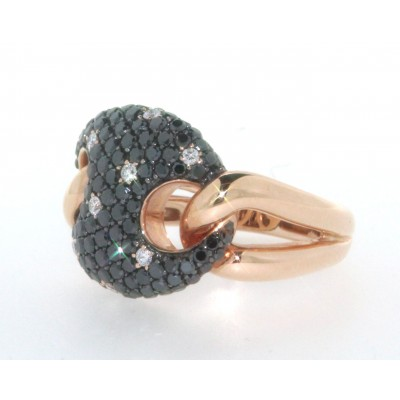 Anello in oro rosa 18 kt, con pavè di diamanti bianchi e diamanti neri, gambo snodato