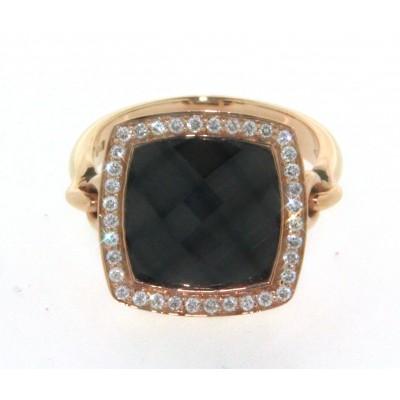 Anello in oro rosa 18 kt, onice sfaccettata e diamanti, gambo snodato