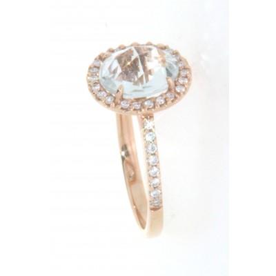 Anello in oro rosa 18 kt, con tormalina e diamanti