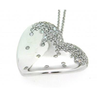 Girocollo in oro bianco 18 kt, con ciondolo a cuore con pavè di diamanti