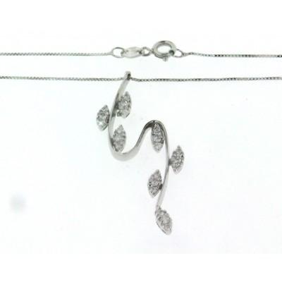 Girocollo in oro bianco 18 kt, con ciondolo con diamanti