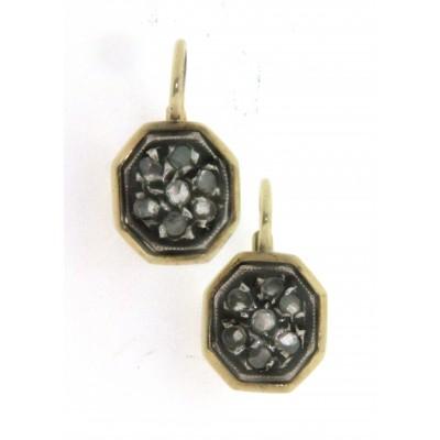 """Paio di """"orecchini della nonna"""" in oro 14 kt, con diamanti"""