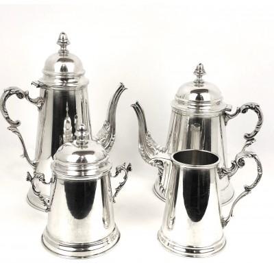 Servizio 4 pezzi Theiera Caffettiera Lattiera e Zuccheriera D'epoca in argento 800