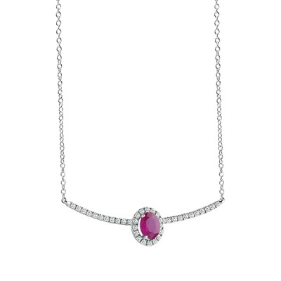 "Collier ""ESSENTIAL COLOUR"" Salvini in oro bianco con diamanti ct. 0,15 e rubino ct. 0,033 peso 2,40"