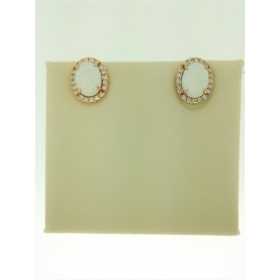 Orecchini in oro giallo 18 Kt con diamanti e agata bianca