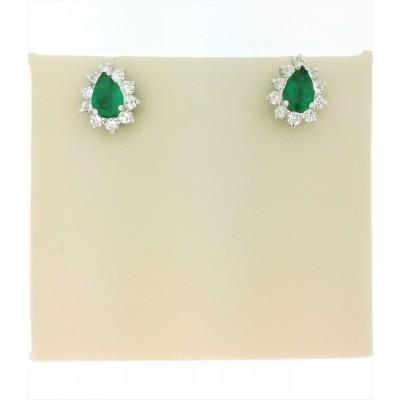 Orecchini a goccia in oro bianco 18 Kt con diamanti e smeraldi