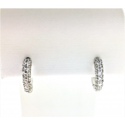 Orecchini in oro bianco 18 Kt  e diamanti taglio brillante 0,46 ct, peso 2,95 gr