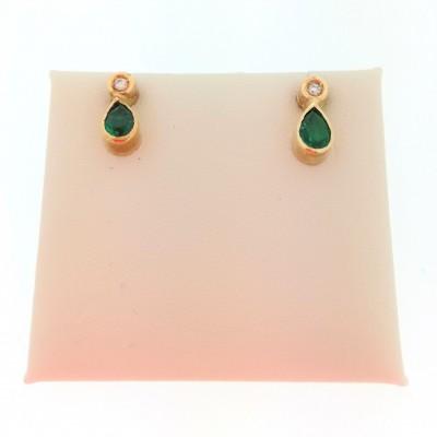 Orecchini in oro giallo 18 Kt con diamanti e smeraldi