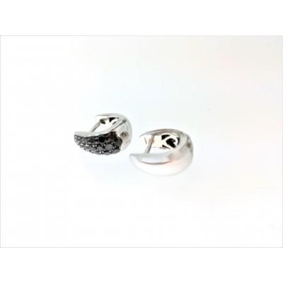 Orecchini in oro bianco 18 Kt e diamanti neri 0, 57 ct