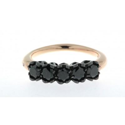 Anello veretta, linea di gioielli Ice Diamond, artigianato fiorentino, in oro rosa 18 kt con cinque diamanti neri