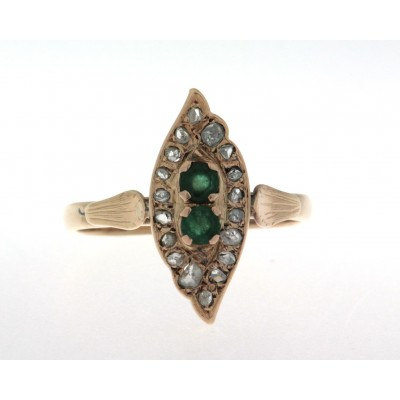 Anello in oro 18 kt e argento, in stile antico, con smeraldi e diamanti