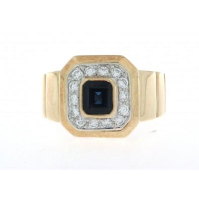 Anello in oro giallo 18 kt, nuovo, uno zaffiro e diamanti