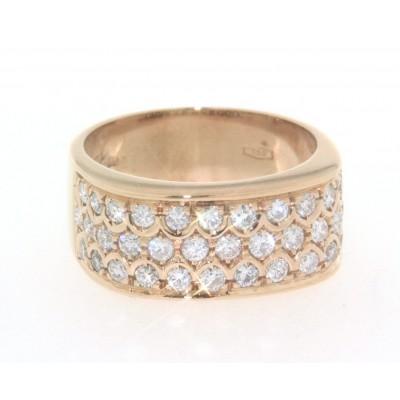 Anello a fascia in oro giallo 18 kt, nuovo, con pavè di diamanti