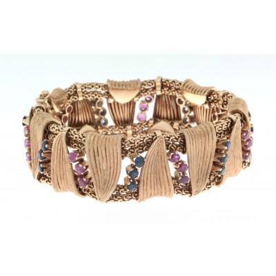 Bracciale in oro rosa, anni '50/'60, lavorazione artigianale, marca Der