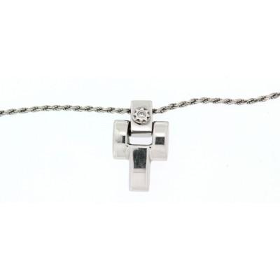 Girocollo Chimento, in oro bianco con croce con un diamante, taglio brillante