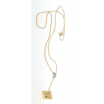 Collana Chimento in oro giallo e bianco, con diamante da ct 0,02, lunghezza regolabile in tre misure usata