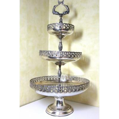 Fruttiera usata, in argento, a tre livelli