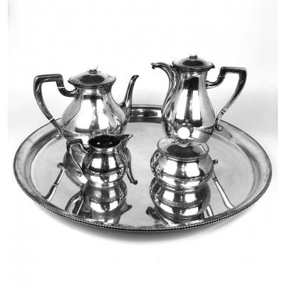 N. 4 pezzi caffè + vassoio argento '800 usato