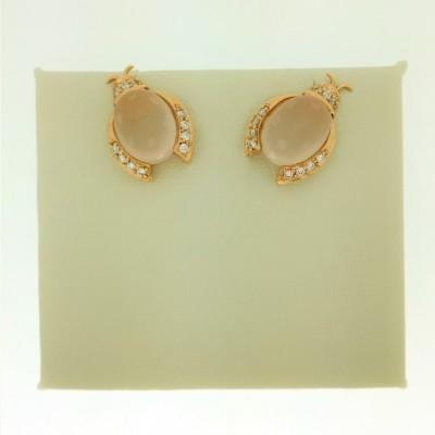"""Orecchini """"COCCINELLA"""" in oro giallo 18 Kt con diamanti taglio brillante 0,14 ct e quarzo rosa"""
