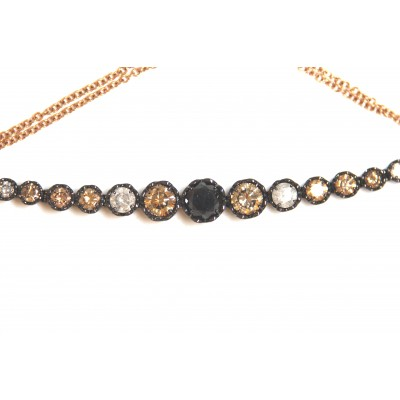 Bracciale linea Ice Diamond in oro rosa con 17 diamanti funcy brown