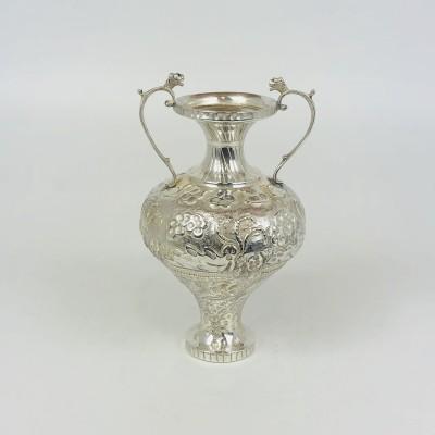 Piccola anfora persiana usata , in argento, d'epoca, anni '50/'60