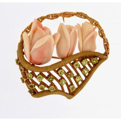 Spilla in oro 750 oro giallo e rosa con corallo rosa