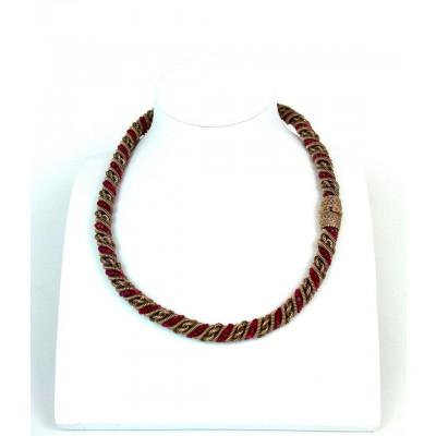 Collana oro 9 kt con radici di rubino usata