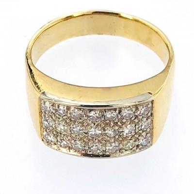Anello oro bicolore 18 kt con brillanti taglio antico