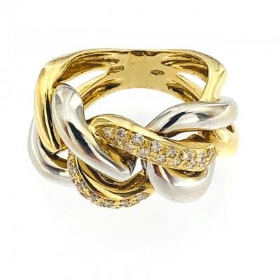 Anello usato oro bianco/giallo18 kt. con brillanti.