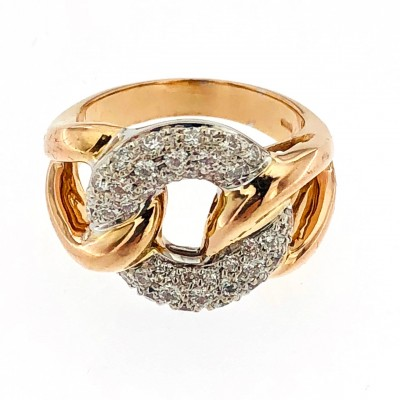 Anello oro bicolore 18 kt con brillanti
