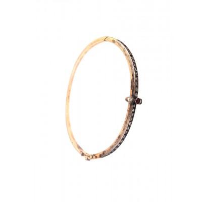Bracciale ovale oro 12 kt. e argento con rosette e pietra rossa centrale più due diamanti usato