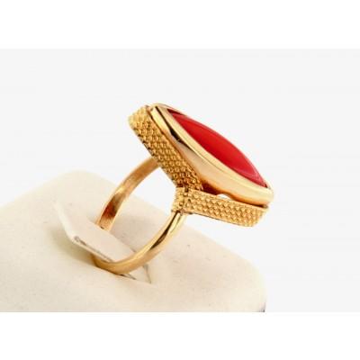 Anello oro giallo 18 kt con corallo stile antico