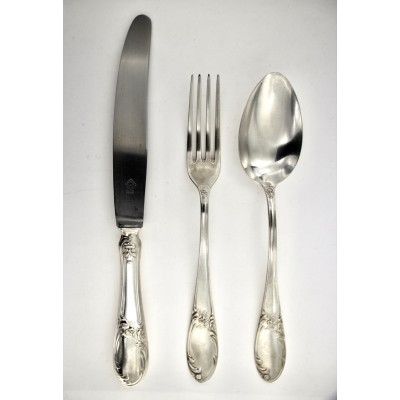 Servizio posate da tavola in argento 800 d'epoca modello Versailles