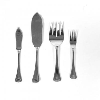 Servizio posate in argento 800 stile conchiglia